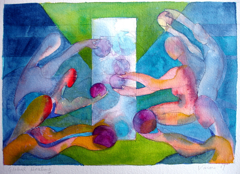 Reciprocity, Global Healing, 2007 10x7 watercolor, National Museum of Women in the Arts Auction