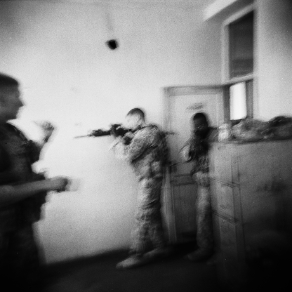 US military police practice drills at a Combat Operating Post in Logar Province.