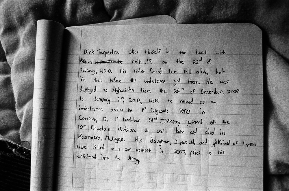 A soldier's journal entry about SPC Dirk Terpstra, who took his life in February, 2010.