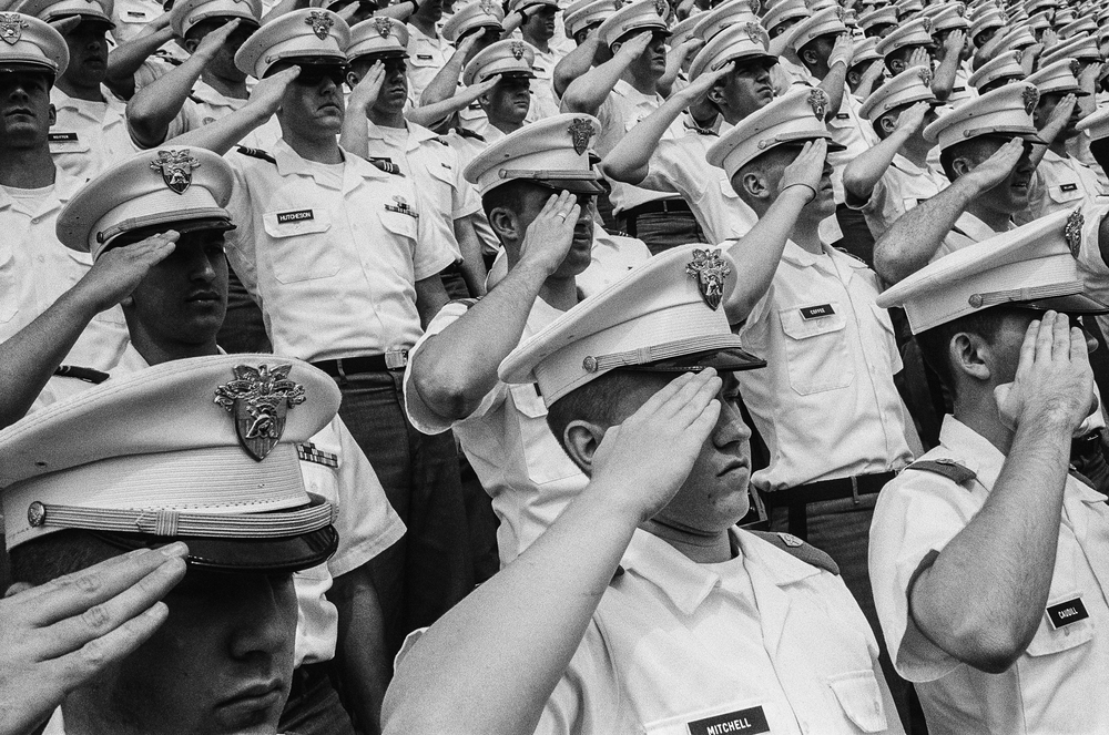 Cadets salute during a graduation ceremony at West Point Military Academy, New York, 2010.