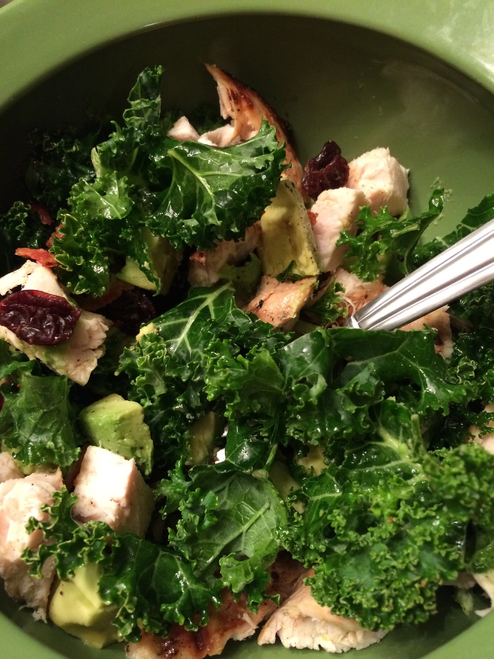 one of my favorite salads: chicken, kale, avocado, dried cranberries. There may or may not be crumbled bacon too...