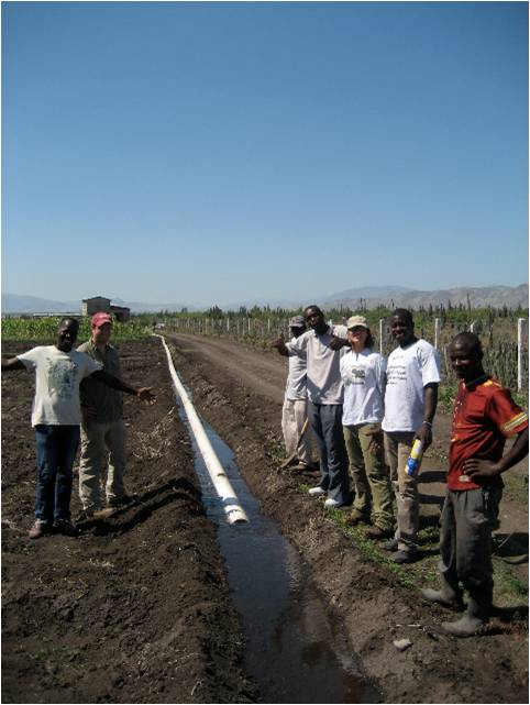 Main water irrigation line at Clarke Agricultural Project.