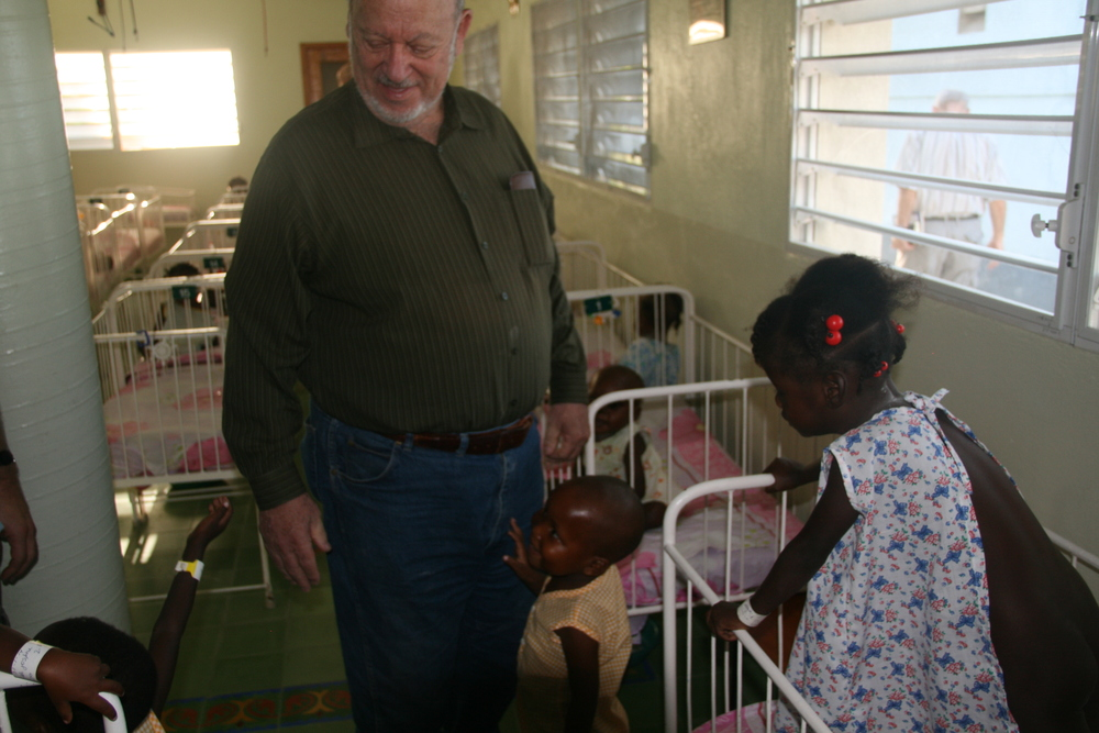 Haward Rgano visits children at an orphanage in P-au-P.