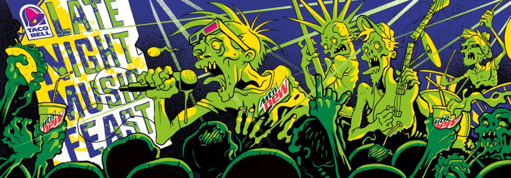 Fountain Cup illustration for Mtn Dew's Late Night Music Feast
