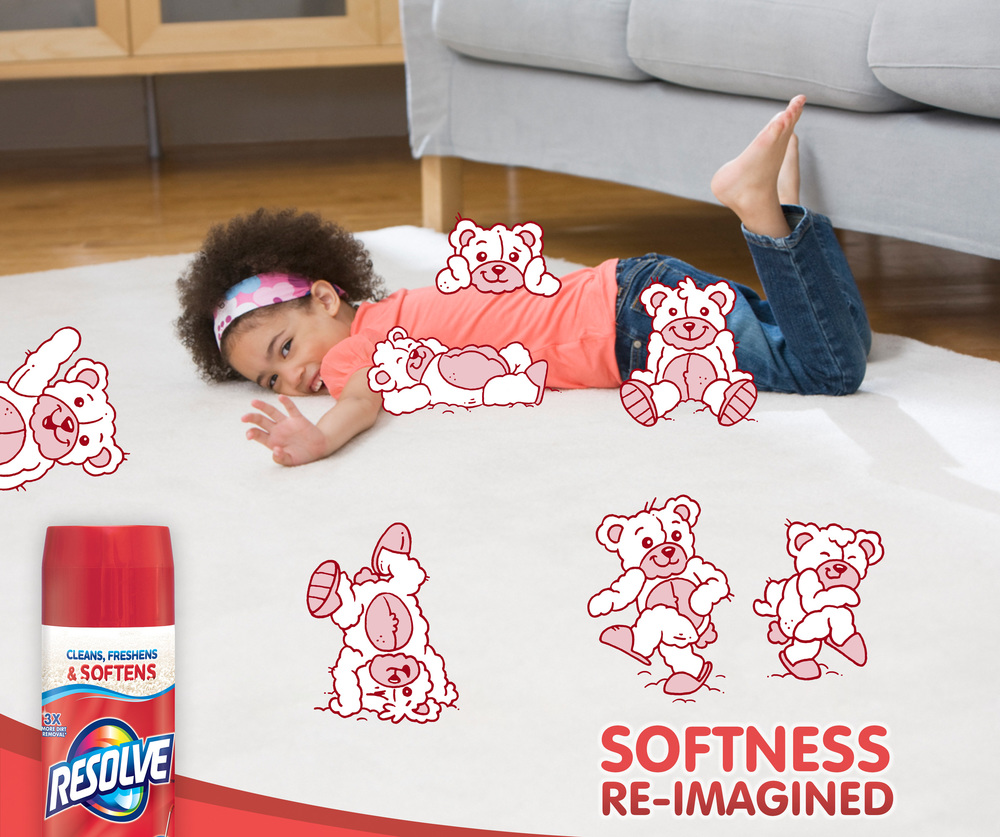 Your kids might think teddy bears in slippers, tiptoeing soften the carpet. But you know it's Resolve. The new formula cleans, freshens, and now SOFTENS your carpet.