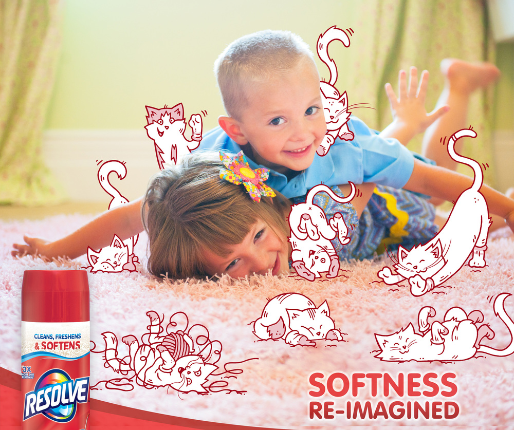 Your kids might think furry kitties in cotton socks rub their whiskers to soften the carpet. But you know it's Resolve. The new formula cleans, freshens, and now SOFTENS your carpet.