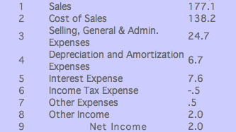 Ford Motors Income Statement (December 2005)