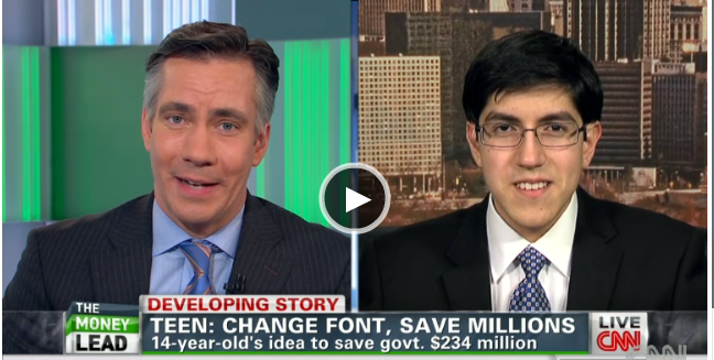 CNN interviews teen entrepreneur who showed the government how to save millions by changing fonts