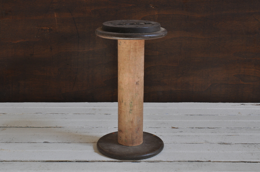 Large Industrial Wooden Bobbin - The Vintage Round Top Shop