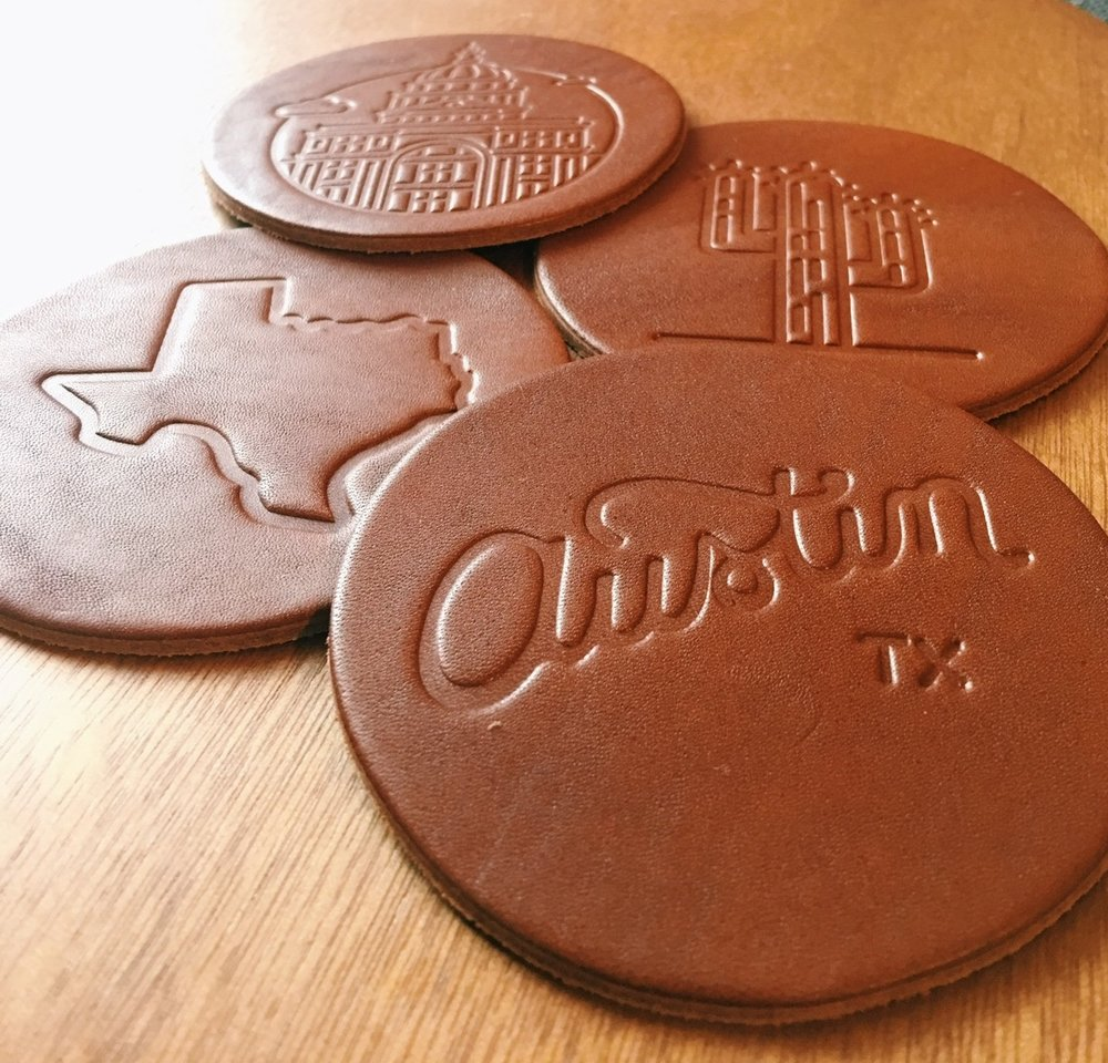 for the artisan  - Humble Goods / Handmade Leather Coasters                Set of 4, $20
