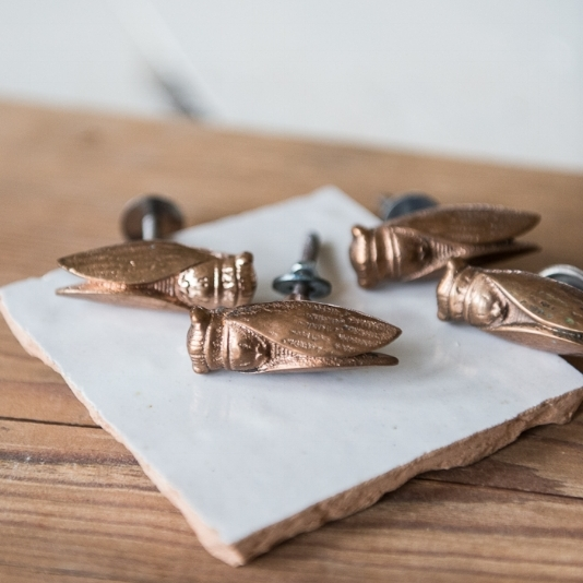 for the DIY expert -  The Vintage Round Top  / Vintage Cicada Drawer Pulls   Set of 4, $32