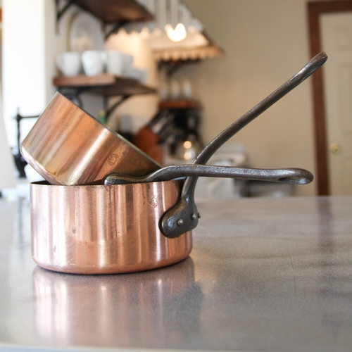 for the chef - French antique copper pots, set of 2$125
