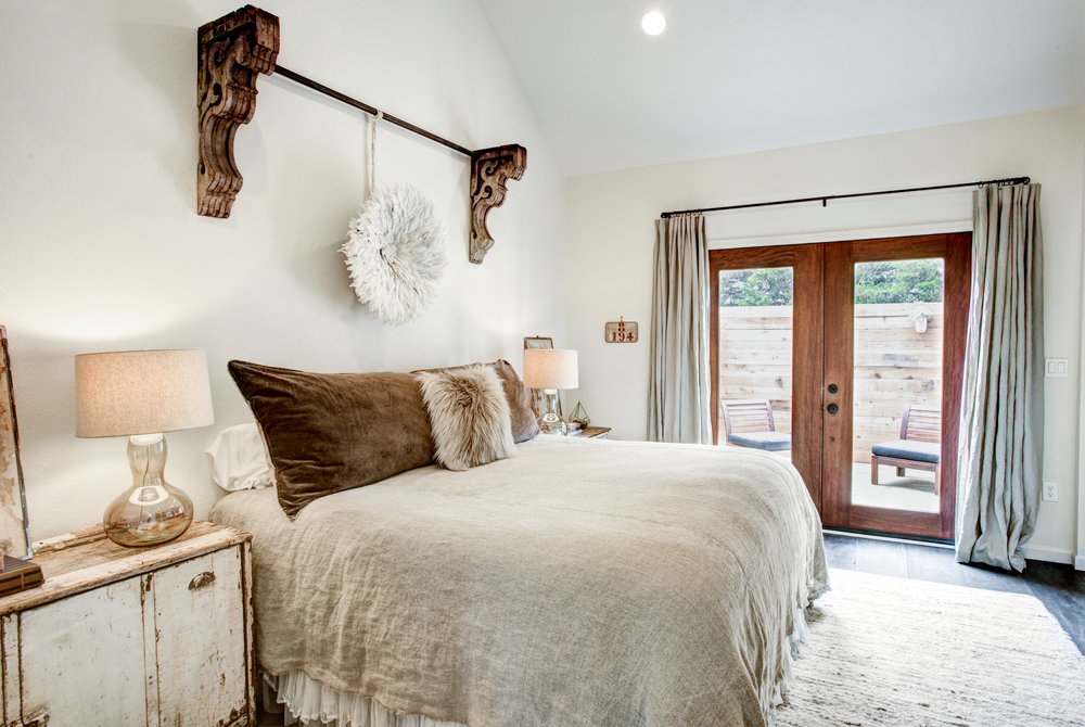 Boho Master Bedroom Honeymoon Suite at The Vintage Round Top