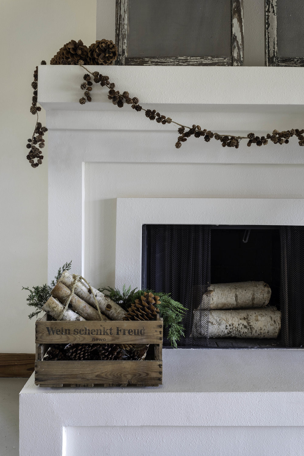 RVT Swedish Christmas. Paige's Blog. Family Heirlooms. Natural holiday decor. Christmas. Fireplace. Fireside. Birch logs