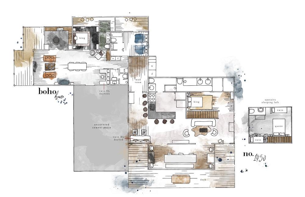 Boho + 1450 cottage layout
