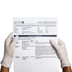 Doctor holding GnomeDX test results for a patient
