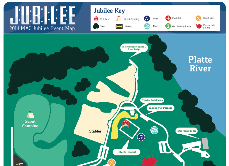 Boy Scouts of America Mid-America Council Jubilee event map. Please download to view full version.    Jubilee Map Download