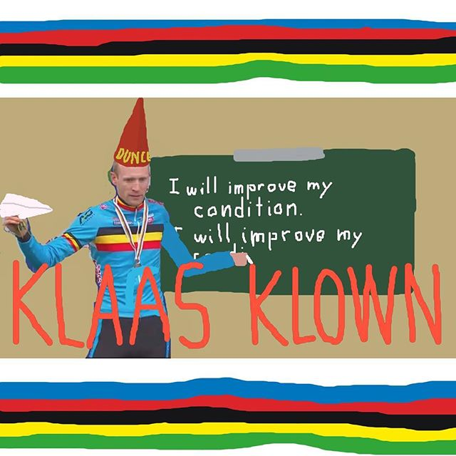 SPECIAL #NAWORLDS #NAWUCI COVERAGE: @klaasvantornout has to wear the dunce cap this year--sitting it out for bad conditioning. We're rooting for you next year, buddy!