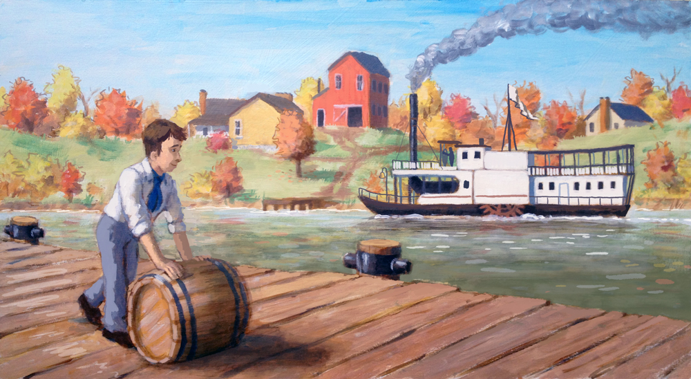 First version - Joseph Kinney pushing a barrel watching said early steamboat