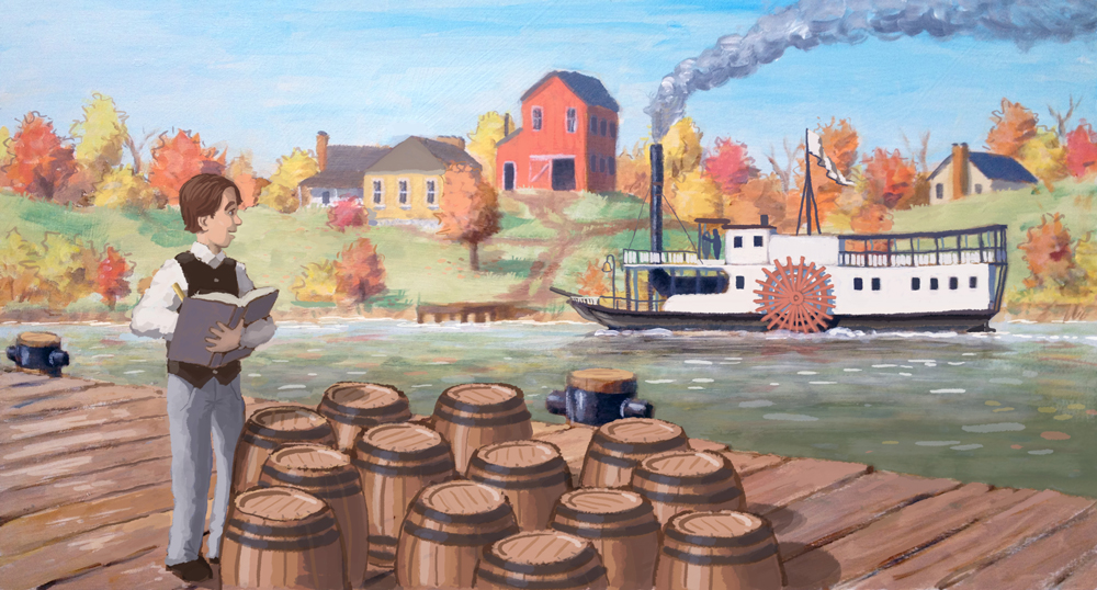 Final version - Joseph Kinney counting barrels and watching an early steamboat