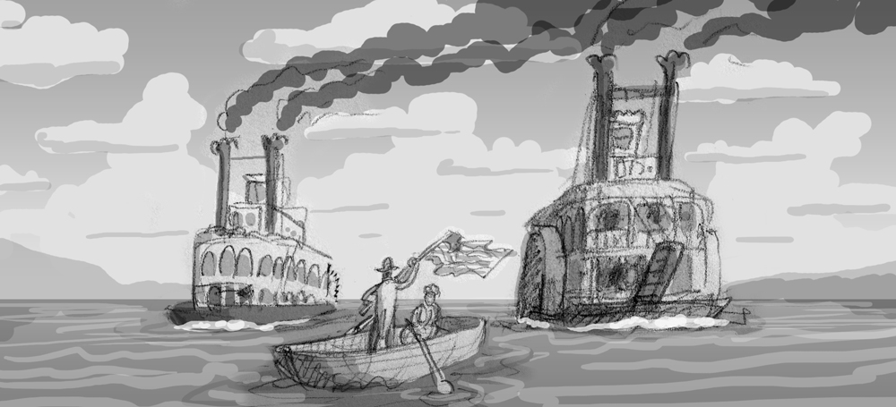 An early rough sketch.  Hell I'm not sure why I'm including this one.  It doesn't look like a race or anything really.  It more looks like some knucklehead just hanging out with his lady and waving a flag while ships pass by.