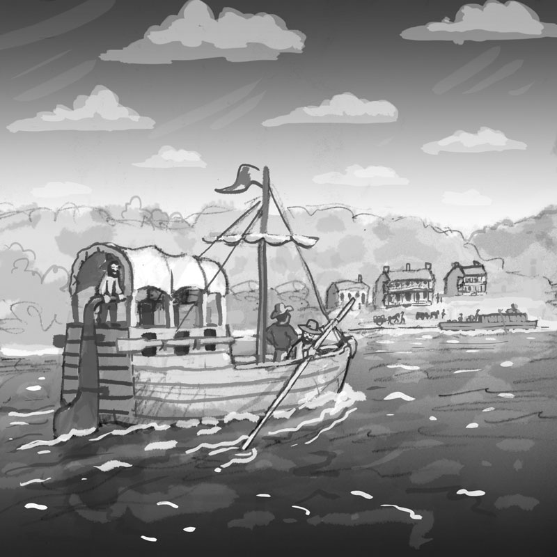 Early pioneers in a keelboat approach the small settlement of Kawsmouth