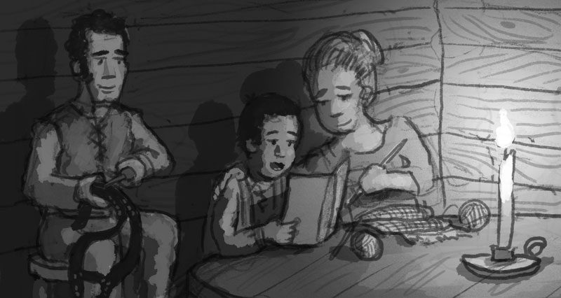 Original rough sketch showing evening life in the Wetmore cabin.