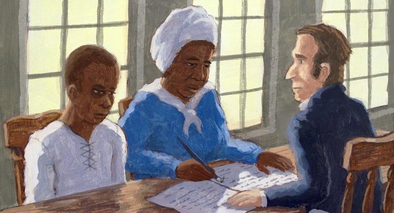 Young Jeffrey and a woman posing as his grandma filing paperwork seeking his freedom.