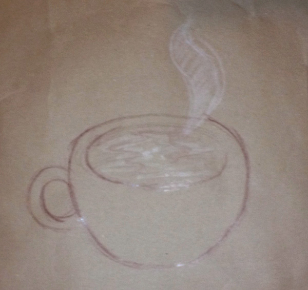 """I'm on board with this one! Coffee. I believe this was drawn by Kristen Howdeshell, one of the illustrators of """"The Night the World Turned Royal Blue"""" whom were also speaking that evening."""