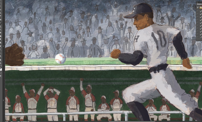 One of the Homestead Grays makes a mad dash to first base.  Where's Buck?
