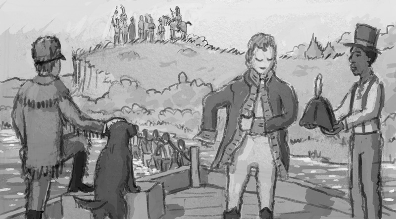 Another alternate rough sketch showing the Discovery being pulled along the Missouri, as William Clark prepares to meet the local natives.  In hindsight there are many things wrong with this illustration even as a sketch.