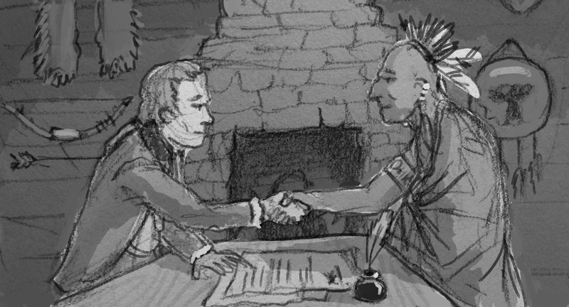 Another alternative rough showing Clark meeting with an tribal leader. I ended up using a version of this for the chapter 5 artwork.