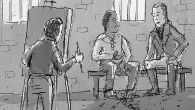 This rough shows Clark along with artist George Catlin visiting the imprisoned chief Black Hawk.