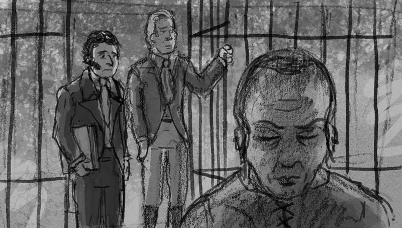Another alternate rough showing Clark along with Prince Maximilian visiting the imprisoned Chief Black Hawk.
