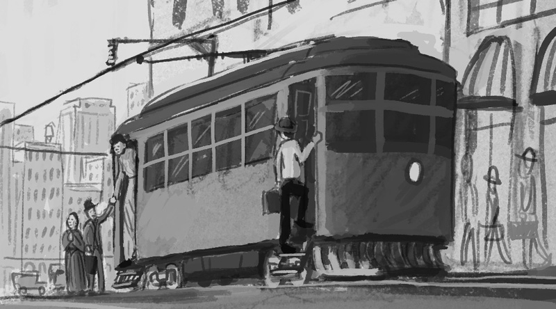 A tightened rough sketch with a closer view of the street car. I was mainly thinking the street car would be a good device to show the relative sizes of the people.