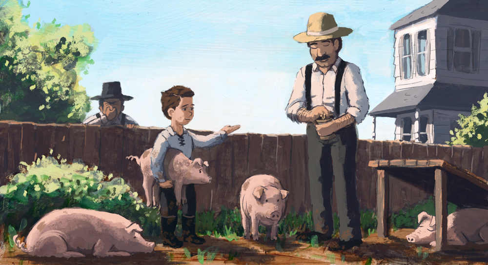 Young businessman J.C. Penney raising and selling pigs in his family's yard, much to the chagrin of neighbors.
