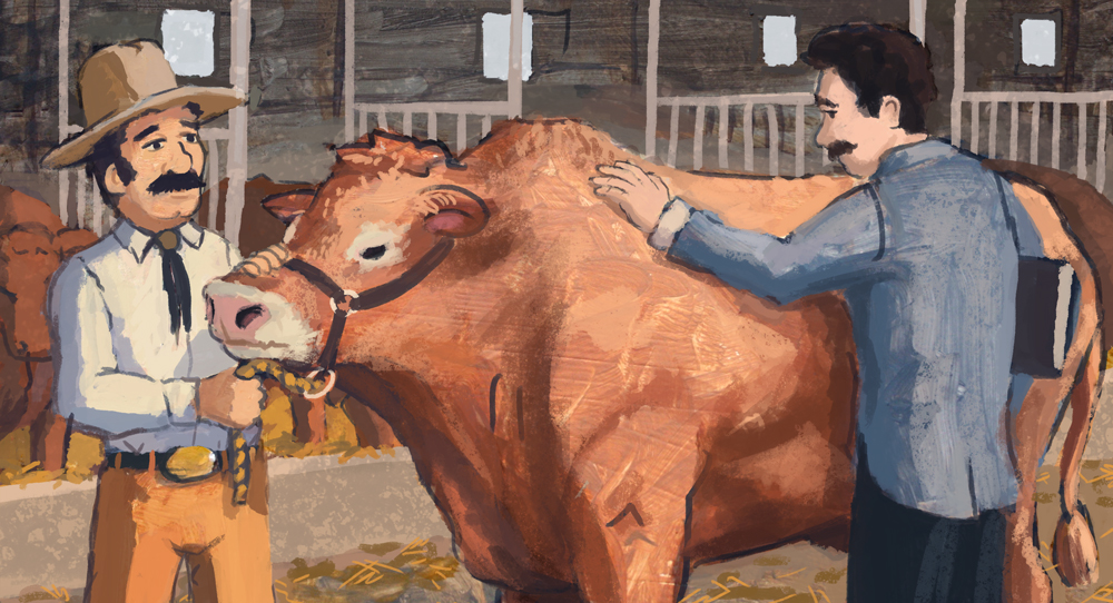 J.C also had an interest in raising prize winning livestock.  Now that I look at this illustration for the first time in awhile, I realize both the men look related or like the same guy.  Eesh.