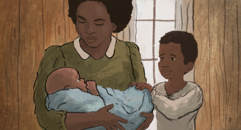 Baby George Washington Carver and his mother and brother.