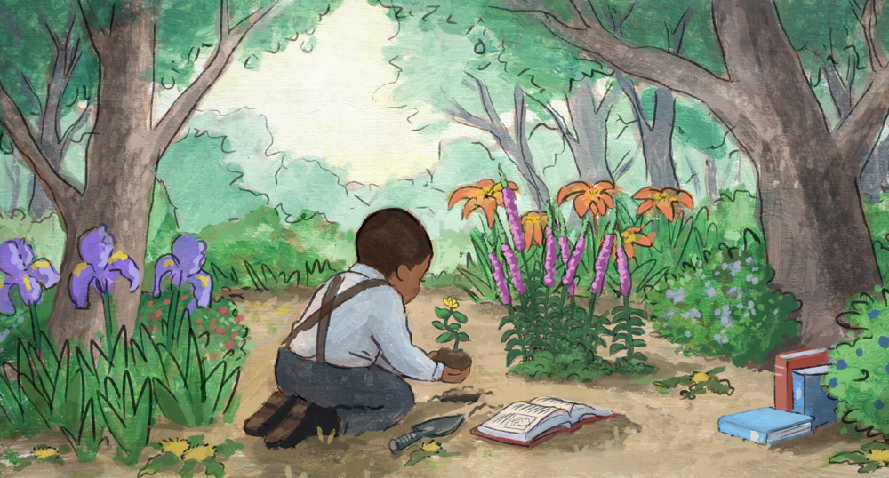 Young George Washington Carver in his woodland garden.