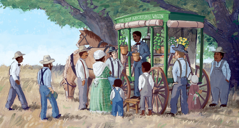 George Washington Carver sharing effecient farming techniques with poor farmers.