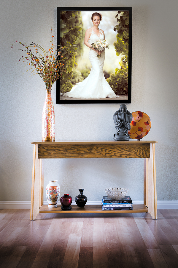 Framed Wedding Portrait on Wall