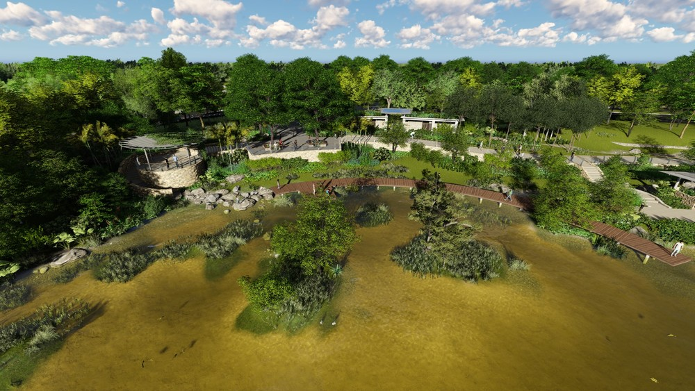 Visualization of Rower's Bay wetland area and boardwalk from Lower Seletar Reservoir