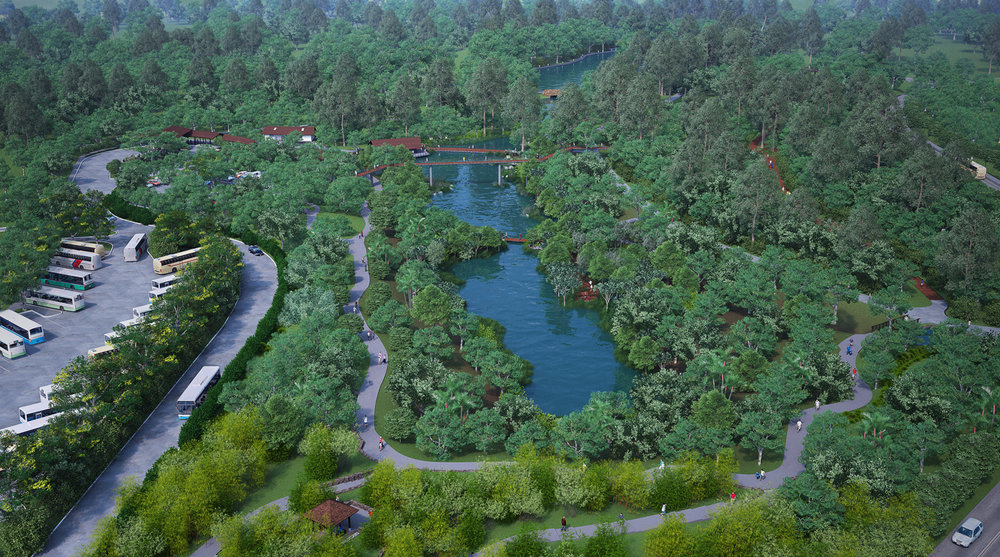Aerial view of the new lake - The Learning Forest SBG - Stephen Caffyn Landscape Design