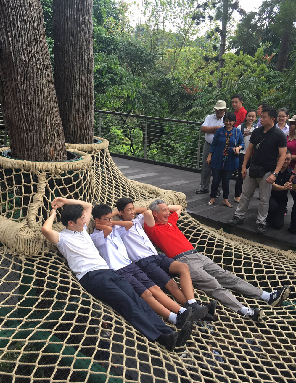 The Prime Minister and Minister of National Development relaxing for the Press at the Canopy Web in the Learning Forest SBG - by Stephen Caffyn Landscape Design
