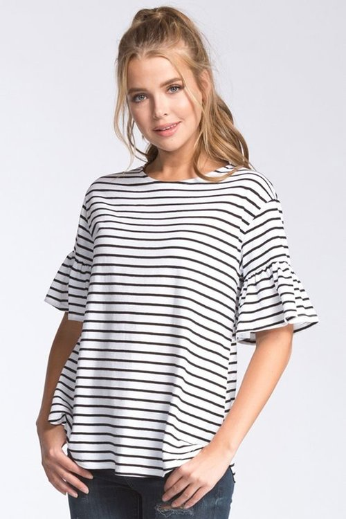 e662300f33 STRIPED BELL-SLEEVE TOP. striped top white front c.jpg