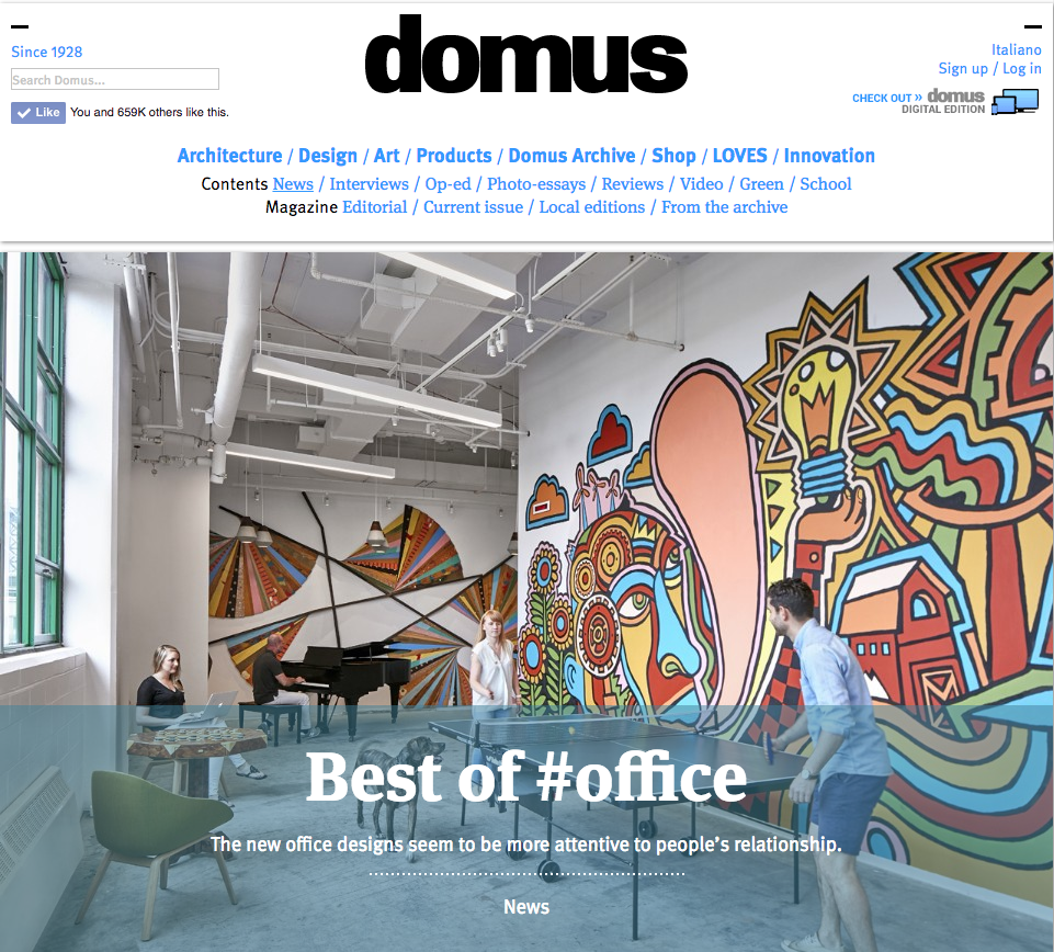 "Domus_ Delighted to be featured on Domus as 1 of 10 architects for ""Best of office"" amongst other architects inc. Snøhetta, Izaskun Chinchilla, Ben Adams Architects and more!"