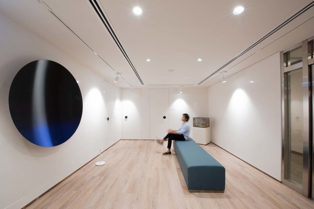 The reception was designed as an art gallery, featuring contemporary art pieces such as Anish Kapoor's Mirror (Black / Green to Cobalt Blue), 2016, and Nam June Paik's Third Eye Television, 2005. Both art pieces serve as important interventions that would engage with people and space.