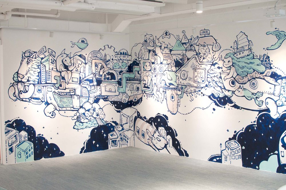 An intricate wall art by local artist Bao Ho envisions a floating city vessel, packed with Hong Kong landmarks, futuristic transports and lucky Feng Shui symbols for the company. Staff is in turn encouraged to express themselves creatively through writable walls and columns.