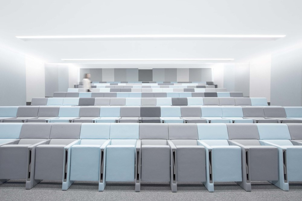This creates an aesthetic environment with excellent acoustic properties - promoting both productivity and well-being. The walls are washed with a soft light, emphasizing the textural quality of the fabric. This same colour pattern is utilised for the tiered auditorium seating. Moveable, flexible and stackable chairs are located to the front of the tired seating to provide additional seating if necessary. The stage area is elevated as a single volume - wrapped in a monochrome blue. This creates a strong focal point which is emphasized by a full video wall to the rear of the stage. A highlight vintage sofa in red and orange, located on the stage, reflects Kerry Logistics identity through the introduction of the brand colours.