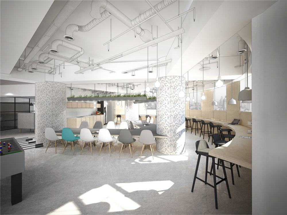 The main pantry acts as a social hub for gathering and informal meetings. A shared floating table was incorporated around the existing columns in a V-shape, encouraging staff to interact during meals, while a raw plywood window bar was installed along the curved façade area, providing an opportunity to for solitary reflection, with views over Shanghai.